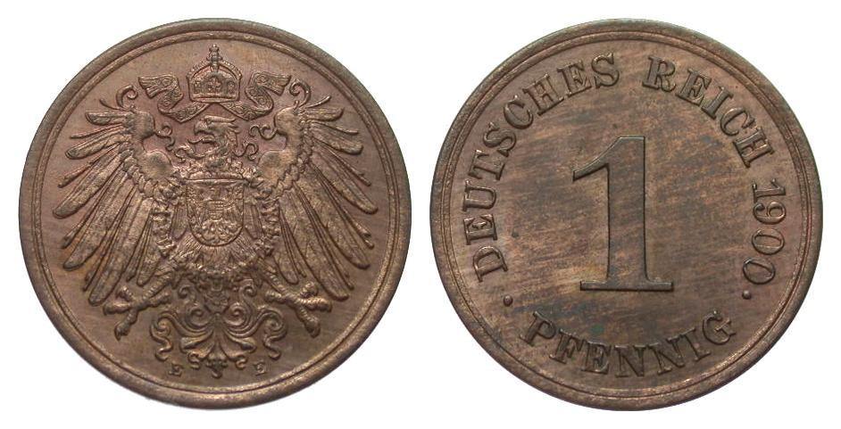 1 Pfennig 1900 E Kaiserreich fast Stempelglanz / Stempelglanz