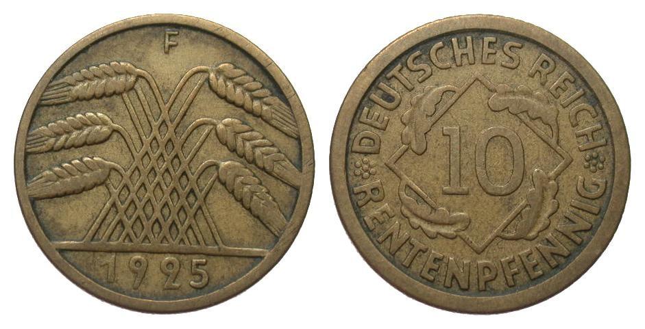 10 Rentenpfennig 1925 F Weimarer Republik sehr schön