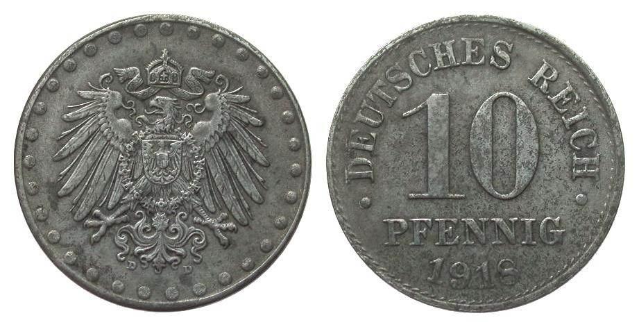 10 Pfennig 1918 D Ersatzmünzen 1. Weltkrieg sehr schön / vorzüglich