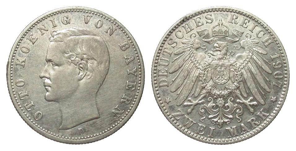 2 Mark Bayern 1907 D Kaiserreich besser als sehr schön