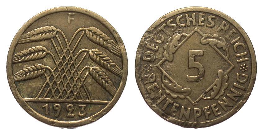 5 Rentenpfennig 1923 F Weimarer Republik Druckstellen und Kratzer, sonst sehr schön