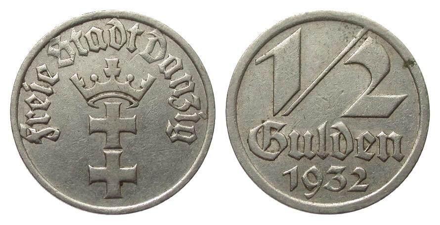 1/2 Gulden Danzig 1932 Kolonien und Nebengebiete gutes sehr schön