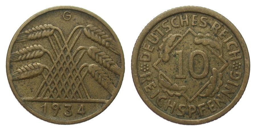 10 Pfennig 1934 G Weimarer Republik gutes sehr schön
