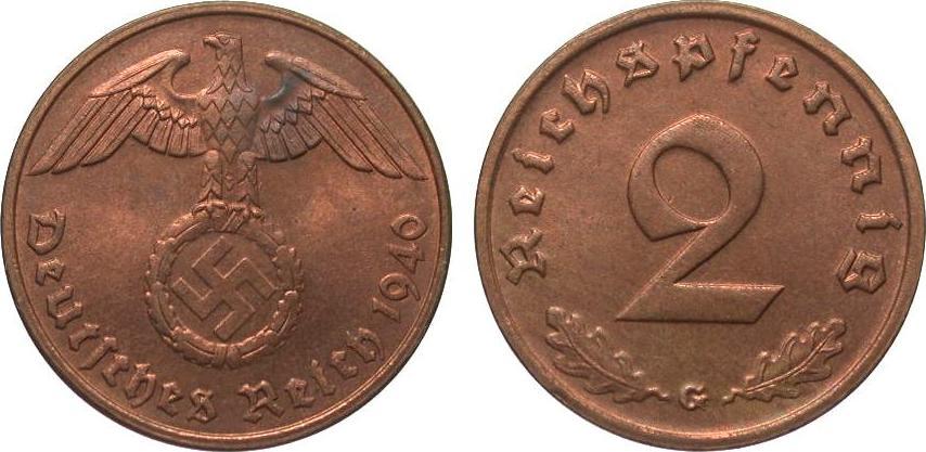 2 Pfennig 1940 G Drittes Reich wz. Fleck, fast Stempelglanz