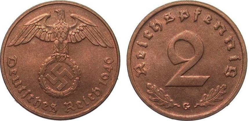 2 Pfennig 1940 G PCGS certified PCGS MS 65 RD