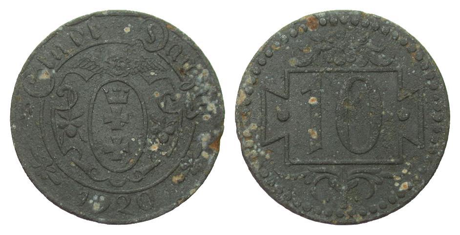 10 Pfennig Danzig 1920 Kolonien und Nebengebiete stark korrodiert, s-ss