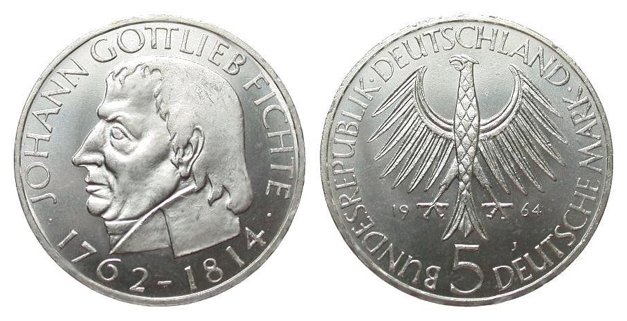 5 DM Fichte 1964 J Bundesrepublik Deutschland wz. Rf. u. Kr., fast Stempelglanz