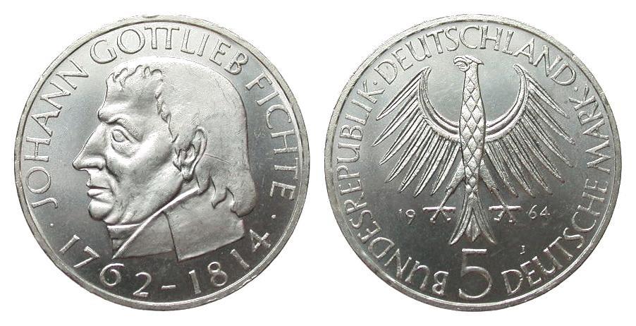 5 DM Fichte 1964 J Bundesrepublik Deutschland kl. Kratzer, vorzüglich / Stempelglanz