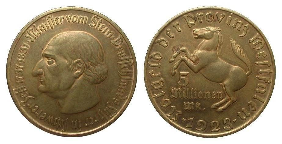 5 Millionen Mark Westfalen 3-zeilig 1923 Kolonien und Nebengebiete etwas fleckig, vorzüglich