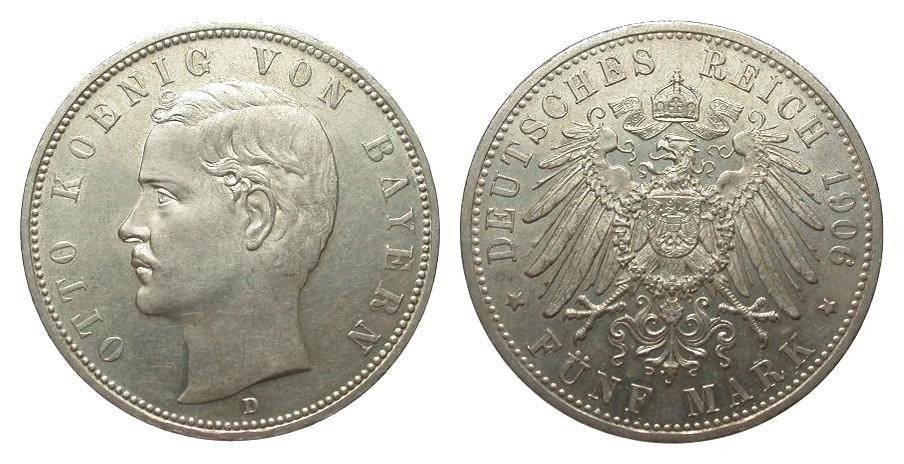 5 Mark Bayern 1906 D Kaiserreich feine Kratzer, vorzüglich / Stempelglanz