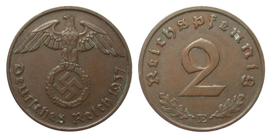 2 Pfennig 1937 E Drittes Reich min. Belag, vorzüglich