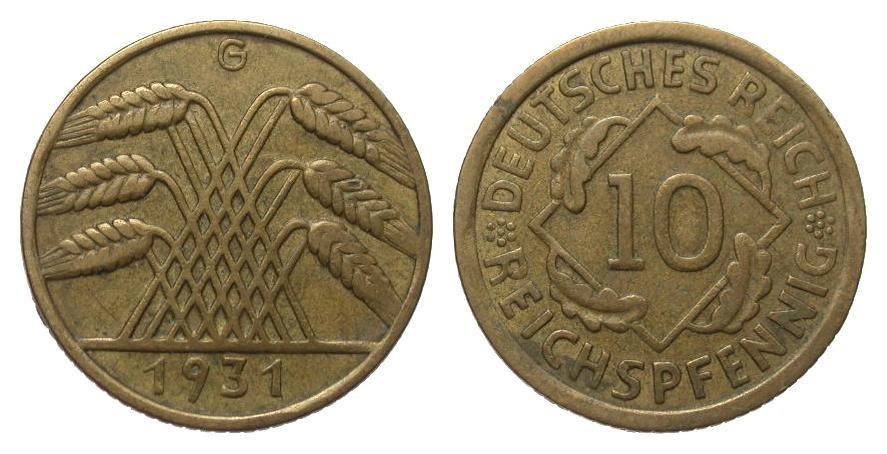 10 Pfennig 1931 G Weimarer Republik gutes sehr schön