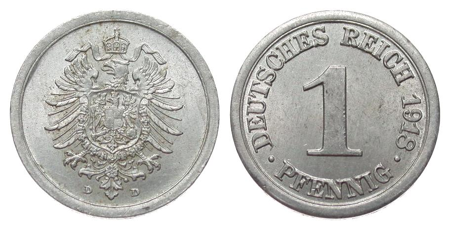 1 Pfennig 1918 D Ersatzmünzen 1. Weltkrieg besser als vorzüglich