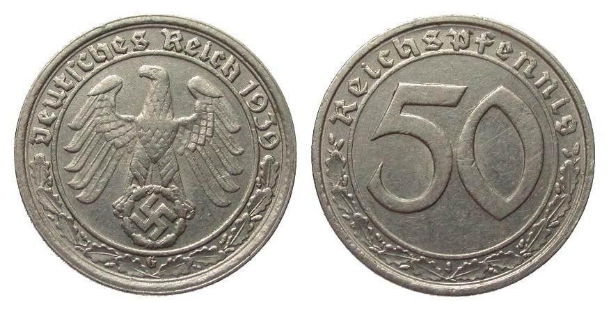 50 Pfennig 1939 G Drittes Reich besser als sehr schön