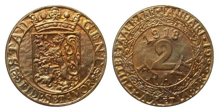2 Franken Gent 1918 Kolonien und Nebengebiete vorzüglich / Stempelglanz