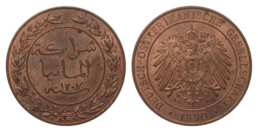1 Pesa 1890 Kolonien und Nebengebiete min. fleckig, vorzüglich / Stempelglanz