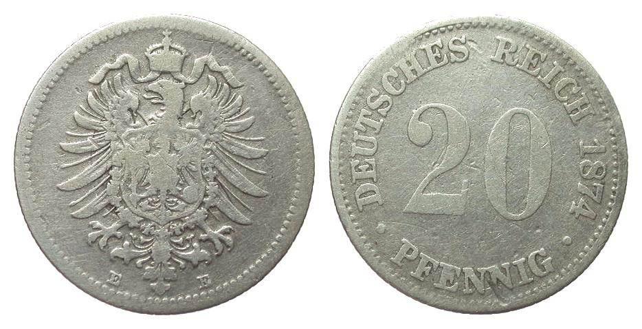 20 Pfennig 1874 E Kaiserreich schön