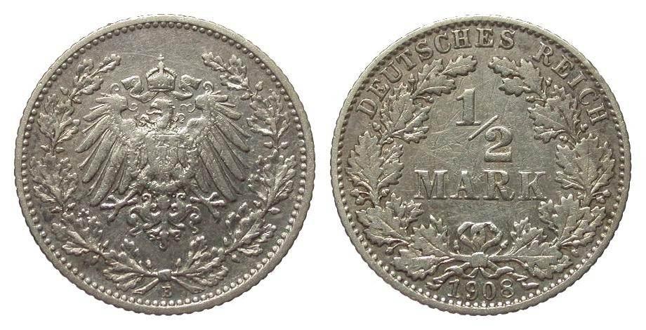 1/2 Mark 1908 E Kaiserreich knapp sehr schön