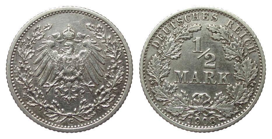 1/2 Mark 1908 G Kaiserreich sehr schön