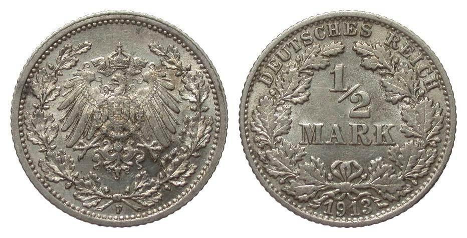 1/2 Mark 1913 F Kaiserreich knapp vorzüglich