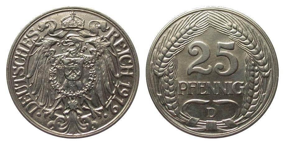 25 Pfennig 1912 D Kaiserreich vorzüglich