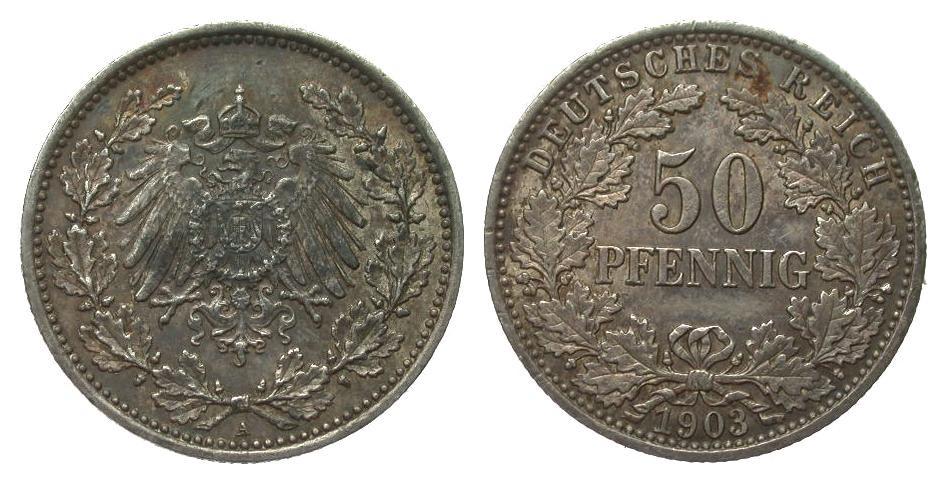 50 Pfennig 1903 A Kaiserreich vorzüglich