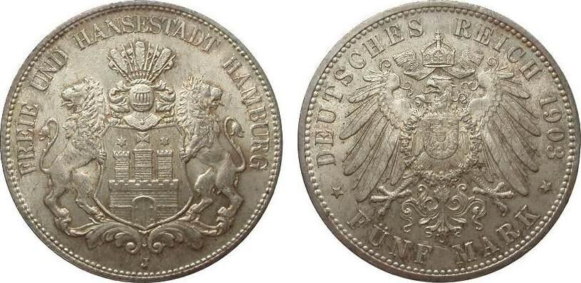 5 Mark Hamburg 1903 J Kaiserreich kl. Kratzer, fast Stempelglanz