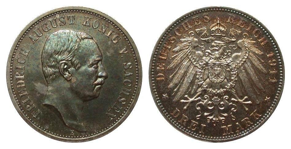 3 Mark Sachsen 1911 E Kaiserreich wz. Kratzer, polierte Platte