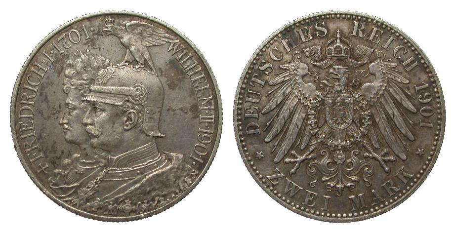 2 Mark Preussen 200-Jahrfeier 1901 Kaiserreich besser als vorzüglich