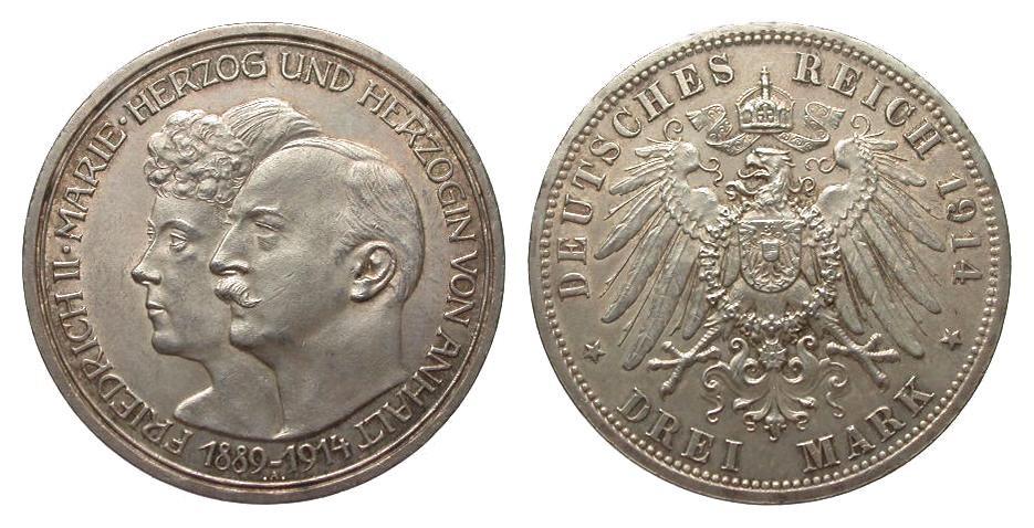 3 Mark Anhalt Silberhochzeit 1914 A Kaiserreich wz. Randfehler, besser als vorzüglich