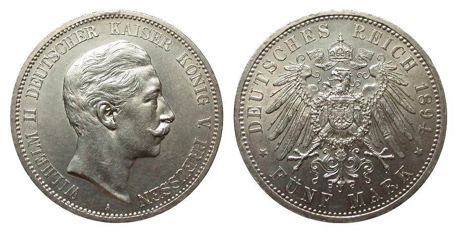 5 Mark Preussen 1894 A Kaiserreich Bildseite vz, Adlerseite vz/St