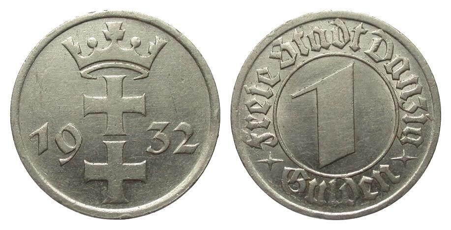 1 Gulden Danzig 1932 Kolonien und Nebengebiete fast vorzüglich