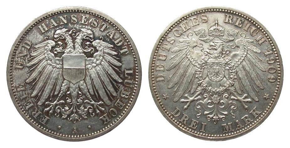 3 Mark Lübeck 1909 A Kaiserreich vorzüglich / Stempelglanz aus EA