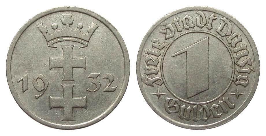 1 Gulden Danzig 1932 Kolonien und Nebengebiete gutes sehr schön