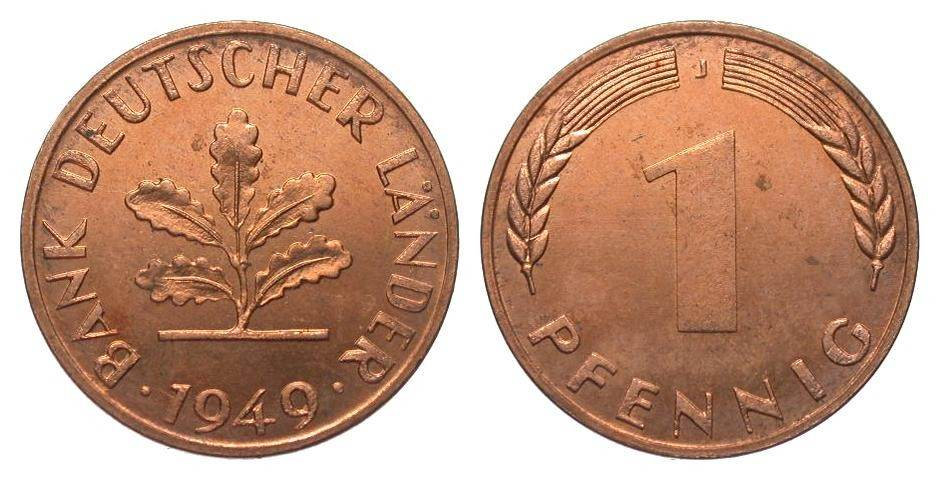 1 Pfennig 1949 J Bundesrepublik Deutschland wz. Kratzer, polierte Platte