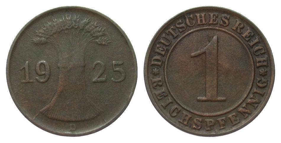 1 Pfennig 1925 D Weimarer Republik sehr schön