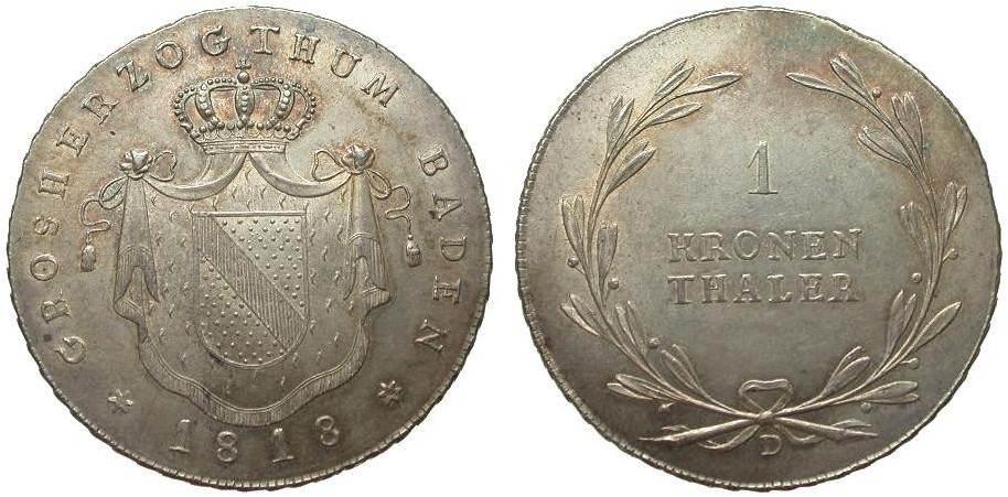 Baden Kronentaler 1818 D Altdeutschland bis 1871 fast Stempelglanz