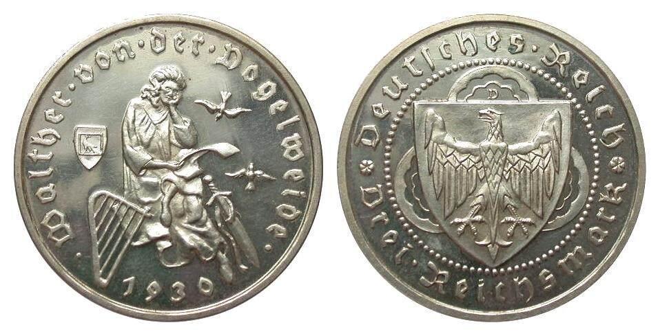 3 Mark Vogelweide 1930 D Weimarer Republik wz. Haarlinien, polierte Platte