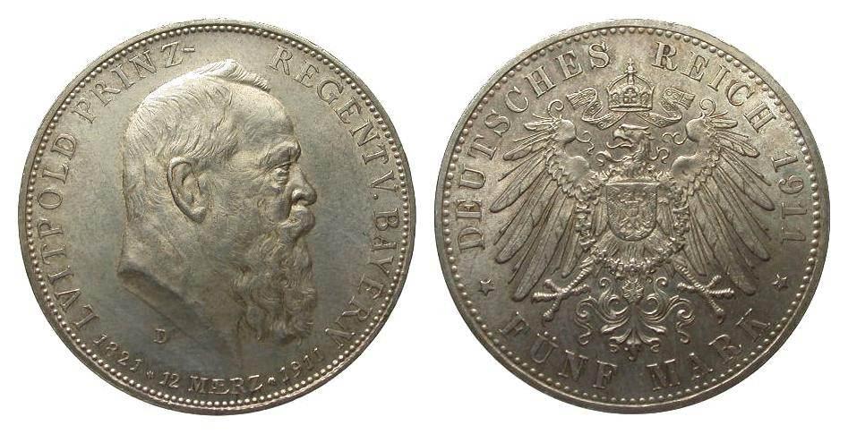 5 Mark Bayern Luitpold 1911 D Kaiserreich min. Randfehler, vorzüglich / Stempelglanz