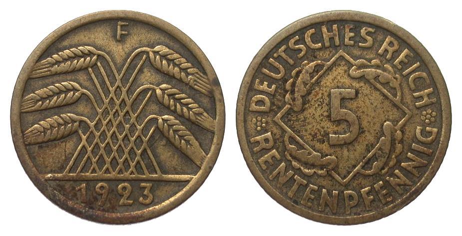 5 Rentenpfennig 1923 F Weimarer Republik sehr schön
