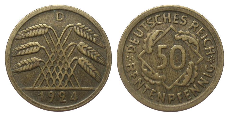 50 Rentenpfennig 1924 D Weimarer Republik gutes sehr schön