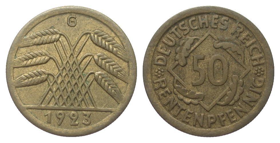 50 Rentenpfennig 1923 G Weimarer Republik vorzüglich