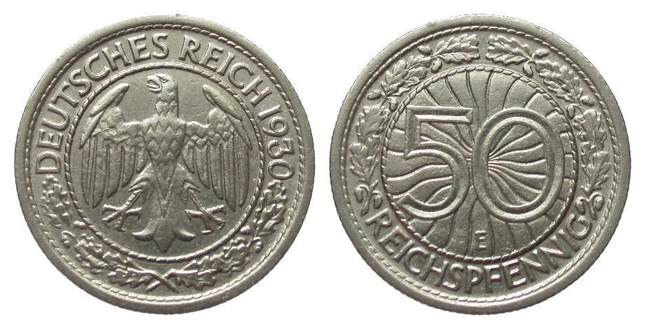50 Pfennig 1930 E Weimarer Republik vorzüglich