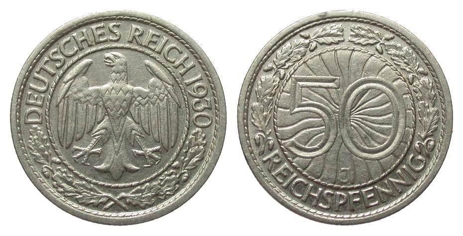 50 Pfennig 1930 J Weimarer Republik wz. Randfehler, vorzüglich