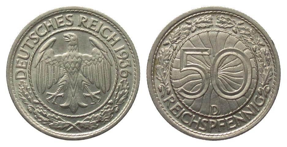 50 Pfennig 1936 D Weimarer Republik min. Randfehler, fast Stempelglanz