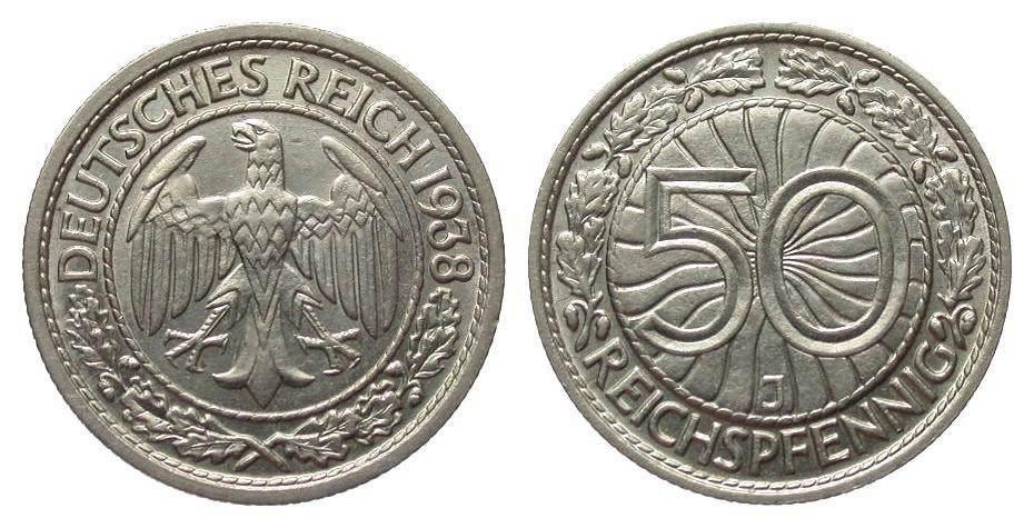 50 Pfennig 1938 J Weimarer Republik besser als vorzüglich