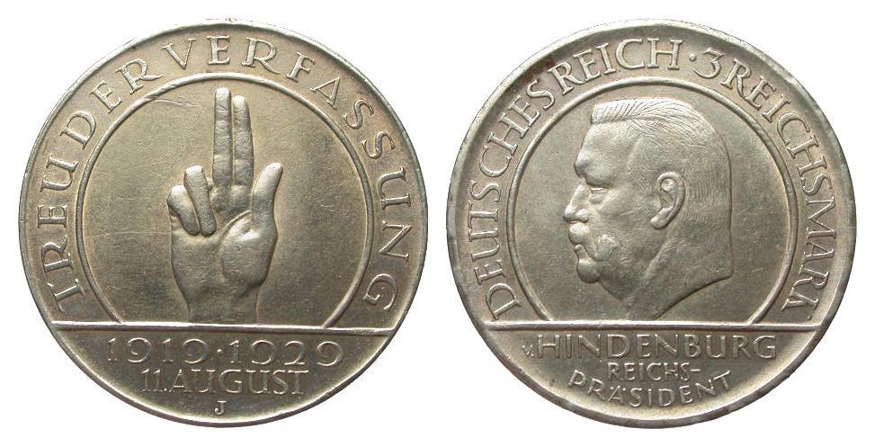 3 Mark Verfassung 1929 J Weimarer Republik kl. Kr. u. Rf., sehr schön / vorzüglich