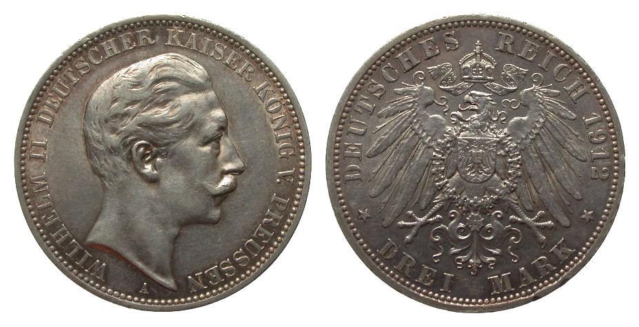 3 Mark Preussen 1912 A Kaiserreich kl. Randfehler, knapp vorzüglich