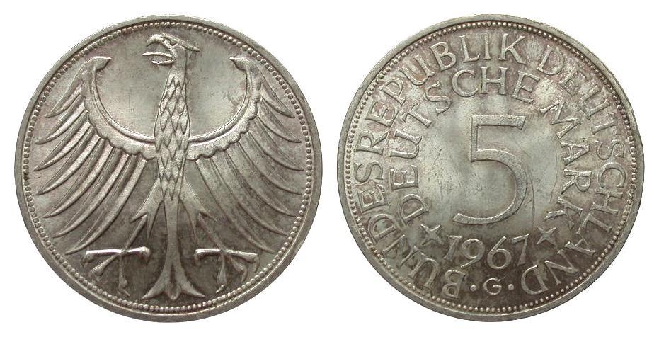 5 DM Silberadler 1967 G Bundesrepublik Deutschland wz. Kratzer, fast Stempelglanz