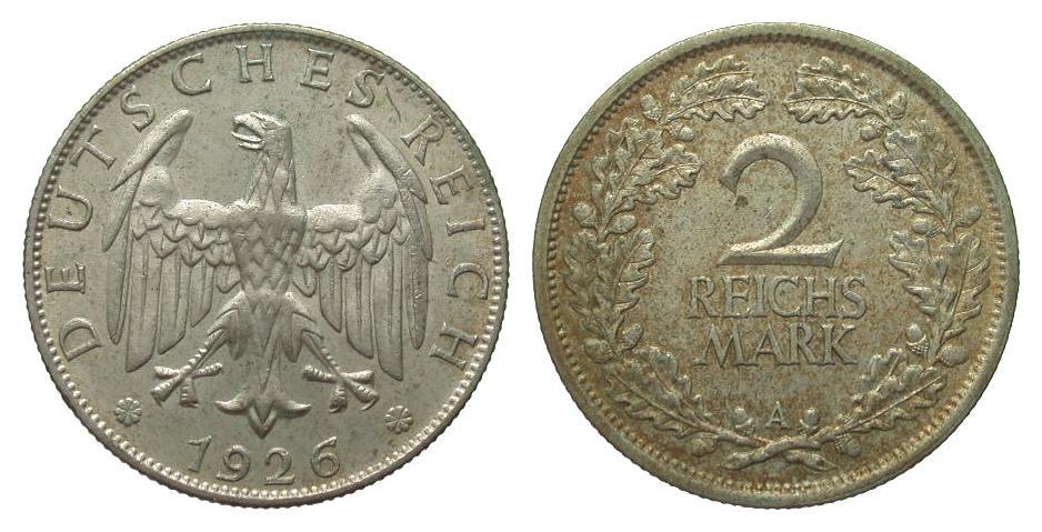 2 Mark 1926 A Weimarer Republik sehr schön / vorzüglich